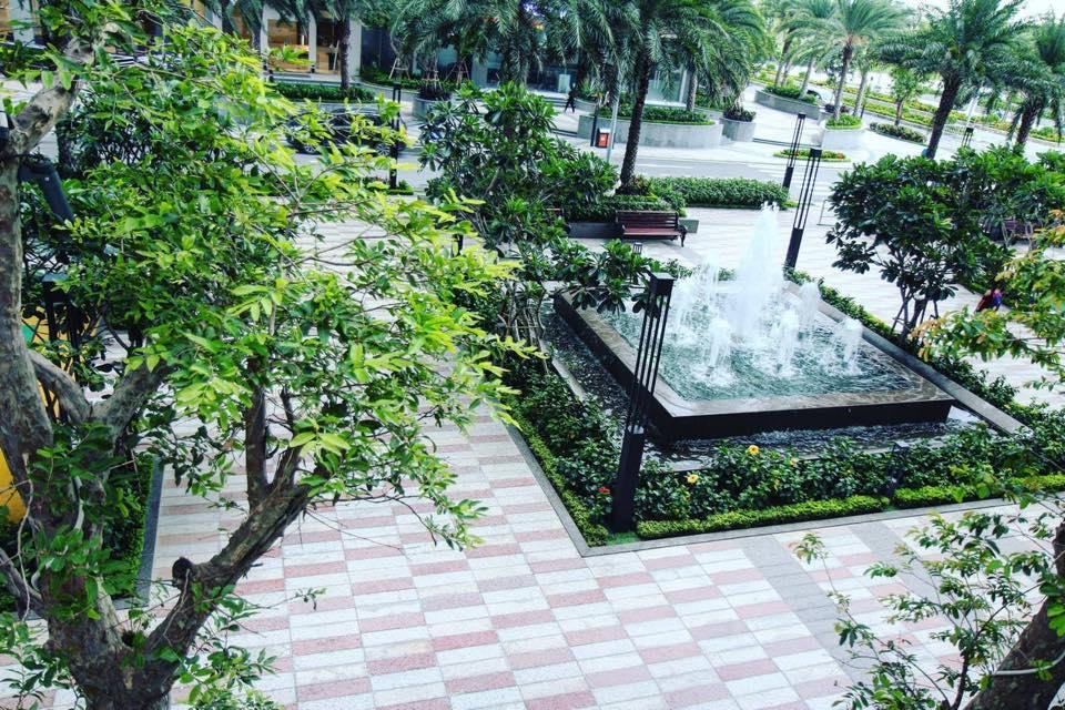 Khu viên nội khu của dự án cũng mang đến không gian xanh tươi với hồ điều hòa đan xen giữa rừng cây.
