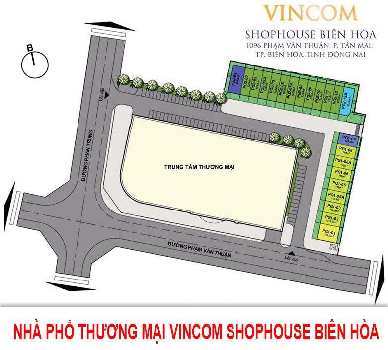 Mặt bằng nhà phố thương mại Vincom Shophouse Biên Hòa