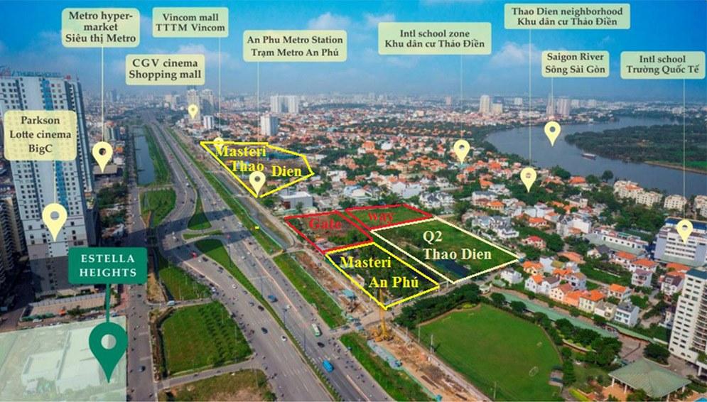 Hệ thống tiện ích ngoại khu của dự án trong vòng 1km
